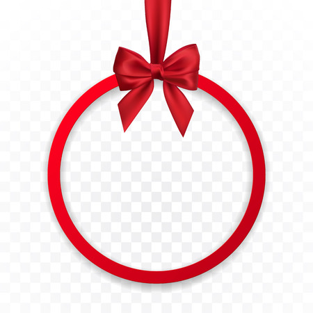 Bright holiday round frame banner hanging with red ribbon and silky bow  on transparent background. Vector illustration.