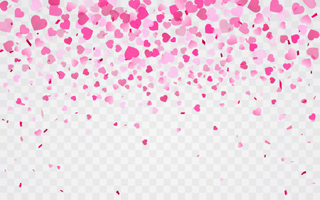 Pink pattern of random falling hearts confetti. Border design element for festive banner, greeting card, postcard, wedding invitation, Valentines day and save the date card. Vector illustration. Illustration