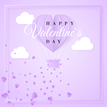 Happy valentines day retro invitation card template with origami paper hot air balloon in heart shape. Purple background. Vector illustration.