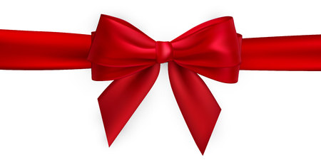 Realistic red bow and ribbon. Element for decoration gifts, greetings, holidays. Vector illustration. Vektorové ilustrace