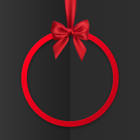 Bright holiday round frame banner hanging with red ribbon and silky bow  on black background. Vector illustration. Illustration