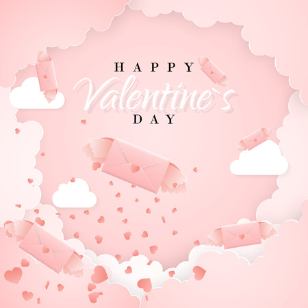 Happy valentines day invitation card template with origami paper letter, clouds and confetti. Pink background. Vector illustration. Illustration