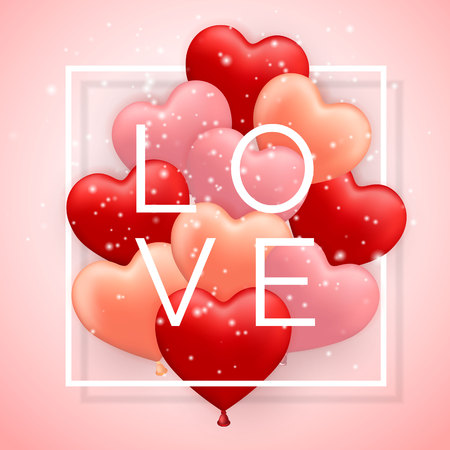 Love, Happy Valentines Day, red, pink and orange balloon in form of heart with ribbon. Vector illustration.
