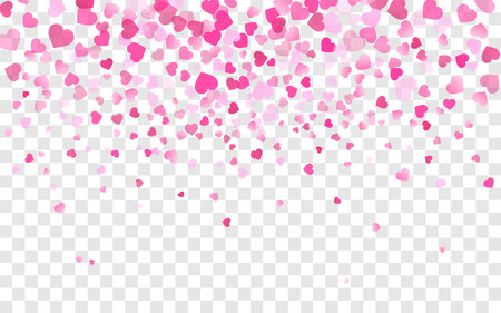 Vector realistic isolated heart confetti on the transparent background for decoration and covering. Concept of Happy Valentine's Day, wedding and anniversary.