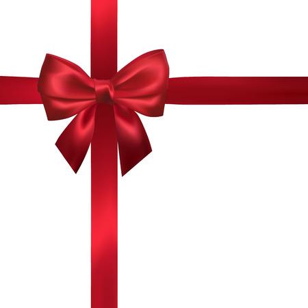 Lazo rojo realista con cintas rojas aisladas en blanco. Elemento para decoración de regalos, saludos, vacaciones. Ilustración vectorial.