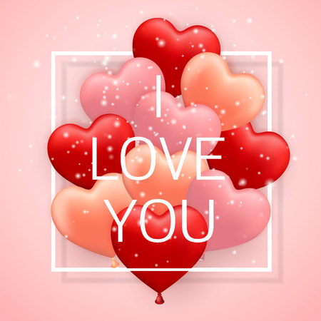 I Love You, Happy Valentines Day, red, pink and orange balloon in form of heart with ribbon vector image. Illustration