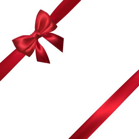Lazo rojo realista con cintas rojas aisladas en blanco. Elemento para decoración de regalos, saludos, vacaciones. Ilustración vectorial. Ilustración de vector