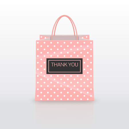 Realistic pink Paper shopping bag with handles isolated on white background. Vector illustration.