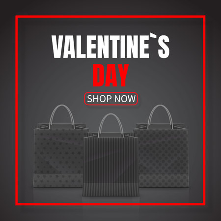 Valentines Day Sale. Realistic Paper shopping bag with handles isolated on dark background. Vector illustration. Illustration