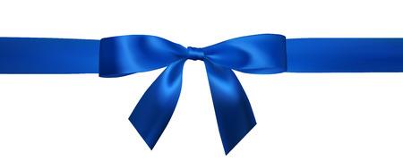 Lazo azul realista con cintas azules horizontales aisladas en blanco. Elemento para decoración de regalos, saludos, vacaciones. Ilustración vectorial.