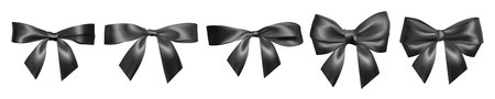 Set of Realistic black bow. Element for decoration gifts, greetings, holidays, Valentines Day design. Vector illustration. Illustration