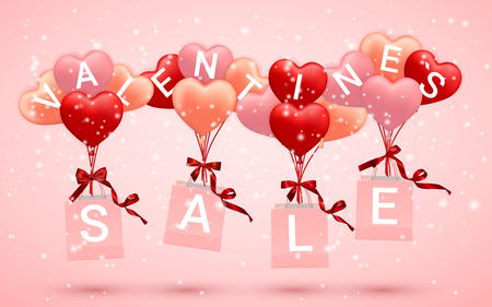 SALE, Happy Valentines Day background, red, pink and orange balloon in form of heart with bow and ribbon and Paper shopping bag. Vector illustration.