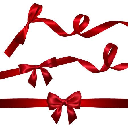 Conjunto de lazo rojo realista con cinta roja larga rizada. Elemento para decoración de regalos, saludos, vacaciones, diseño del día de San Valentín. Ilustración vectorial.