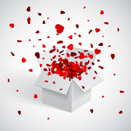 Open white Gift Box and Heart Confetti. Christmas and Valentine Background. Vector Illustration. Vector Illustration