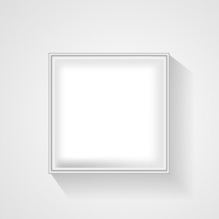 Open white empty gift box on light background. Top view. Template for your presentation, banner or poster. Vector illustration.