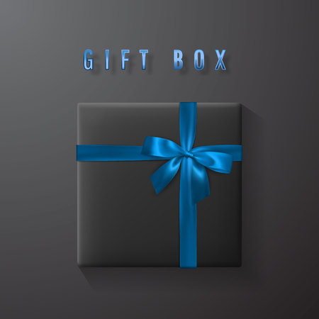 Black gift box with blue bow and ribbon top view. Element for decoration gifts, greetings, holidays. Vector illustration.