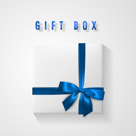 Set White Gift box with blue bow and ribbon top view. Element for decoration gifts, greetings, holidays. Vector illustration. Vector Illustratie