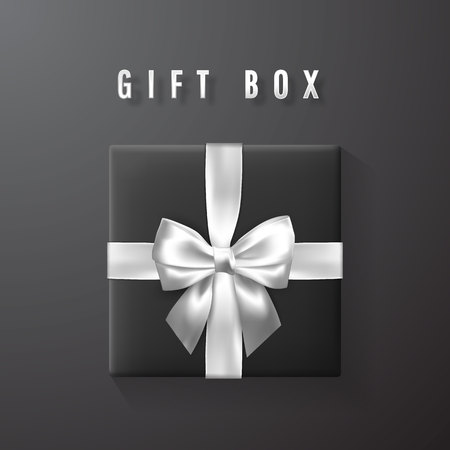 Black gift box with white, silver bow and ribbon top view. Element for decoration gifts, greetings, holidays. Vector illustration. Illustration