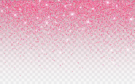 Pink glitter sparkle on a transparent background. Vibrant background with twinkle lights. Vector illustration.