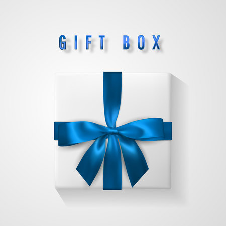Set White Gift box with blue bow and ribbon top view. Element for decoration gifts, greetings, holidays. Vector illustration.