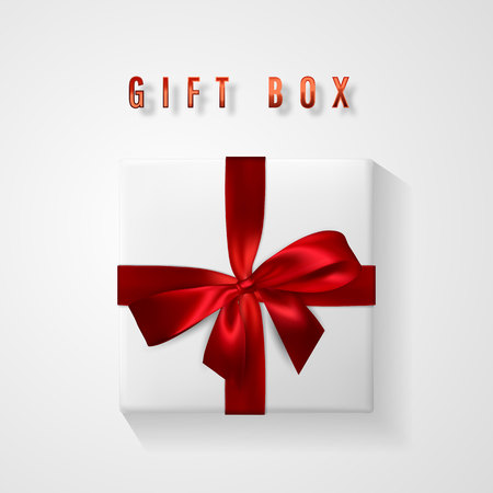 Set White Gift box with red bow and ribbon top view. Element for decoration gifts, greetings, holidays. Vector illustration.