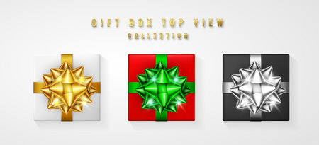 Set Gift box with bow and ribbon top view. Element for decoration gifts, greetings, holidays. Vector illustration. Illustration