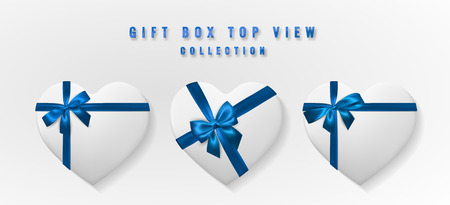 Set White heart shape gift box with bow and ribbon top view. Element for decoration gifts, greetings, holidays. Vector illustration. Illustration