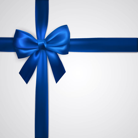 Realistic blue bow with ribbons isolated on white. Element for decoration gifts, greetings, holidays. Vector illustration. Vetores