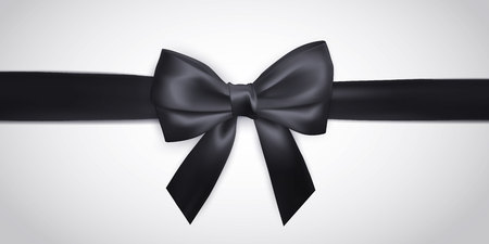Realistic black bow with ribbon isolated on white. Element for decoration gifts, greetings, holidays. Vector illustration. Ilustração Vetorial