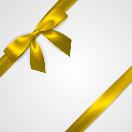 Realistic golden bow with gold, yellow ribbons isolated on white. Element for decoration gifts, greetings, holidays. Vector illustration.
