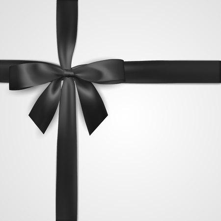 Arc noir réaliste avec ruban isolé sur blanc. Élément pour cadeaux de décoration, salutations, vacances. Illustration vectorielle.