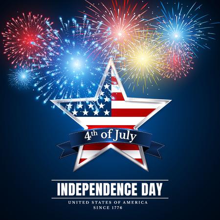4 th july usa star, independence day. Fireworks. Festival colorful firework. Vector llustration on blue background.