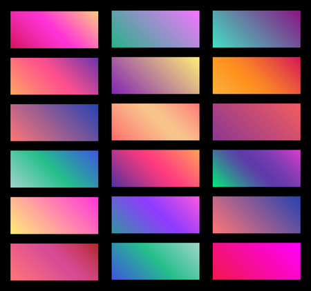 Collection of soft color background gradient. Plates with gradient effect. Vector illustration.