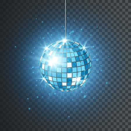 Disco or mirror ball with bright rays. Music and dance night party background. Abstract night club retro background 80s and 90s. Vector illustration.