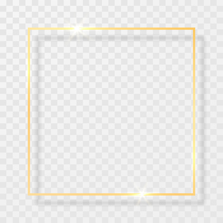 Gold shiny glowing vintage frame with shadows isolated on transparent background. Golden luxury realistic rectangle border. Vector illustration. Vettoriali