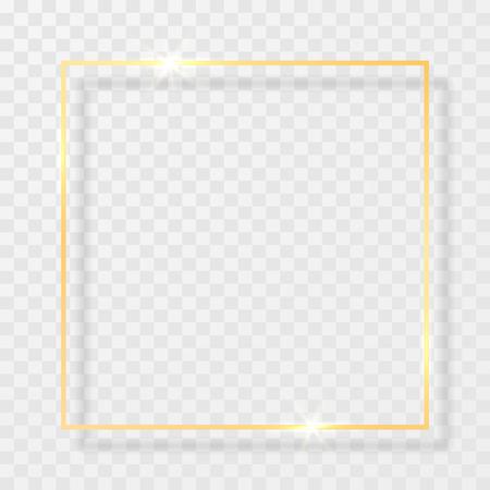 Goldglänzender leuchtender Vintage-Rahmen mit Schatten auf transparentem Hintergrund. Goldene realistische Rechteckgrenze des Luxus. Vektor-Illustration.