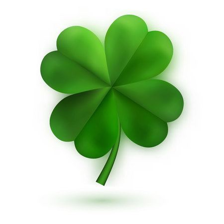 Green Four Leaf Clovers. Irish Lucky and success symbols. Vector illustration.