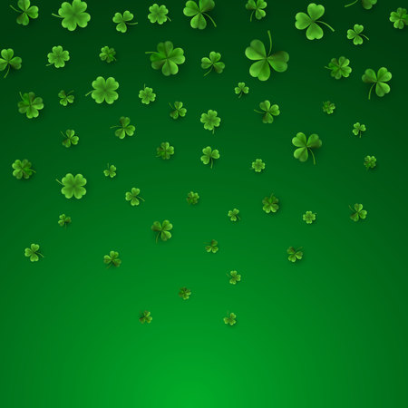 Saint Patrick's Day Border with Green Four and Tree Leaf Clovers. Irish Lucky and success symbols. Vector illustration.