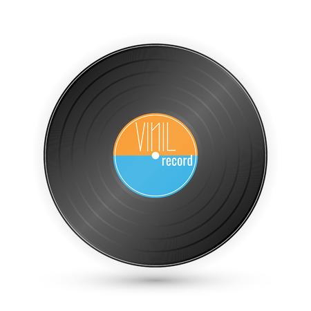 Vinyl music record. Vintage gramophone disc. Vector illustration.