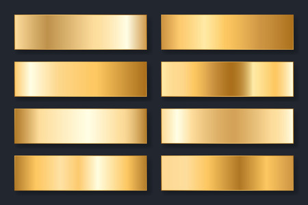 Collection of backgrounds with a metallic gradient. Brilliant plates with gold effect. Vector illustration.