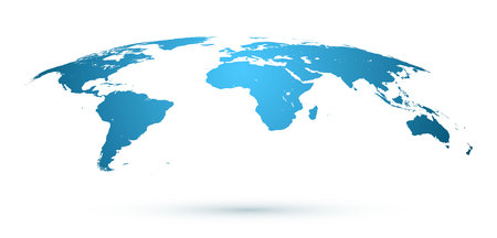World Map Isolated on White Background in Blue Color. Vector Illustration.