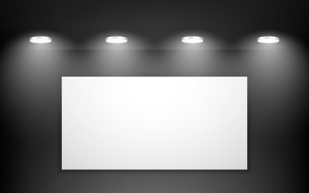 Empty black studio room interior. Clean workshop for photography or presentation. Vector illustration.