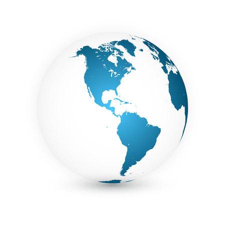 Globo terráqueo. Conjunto de mapa del mundo. Planeta con continentes. Ilustración de vector.
