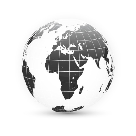 Earth globe. World map set. Planet with continents. Vector Illustration. Zdjęcie Seryjne - 124654452