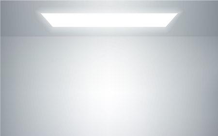 Interior de la sala de estudio vacía. Fondo de pared y piso blanco. Taller limpio para fotografía o presentación. Ilustración vectorial.