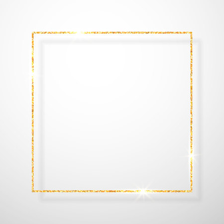 Gold shiny glitter glowing vintage frame with shadows isolated on transparent background. Golden luxury realistic rectangle border. Vector illustration. Иллюстрация