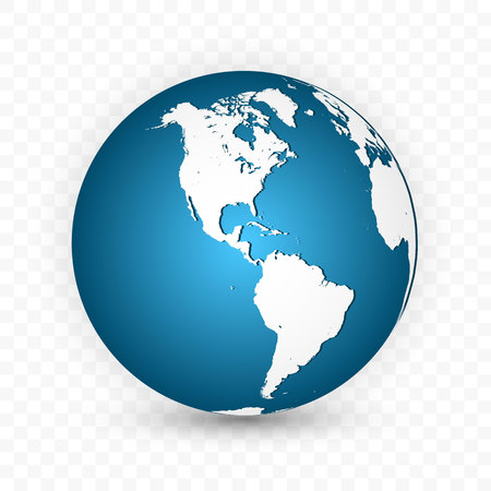 Aarde bol. Wereldkaart ingesteld. Planeet met continenten. Vectorillustratie.
