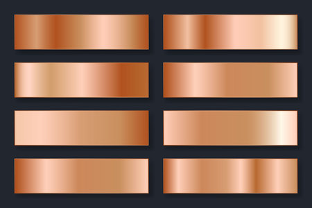 Collection of backgrounds with a metallic gradient. Brilliant plates with bronze effect. Vector illustration. Illustration