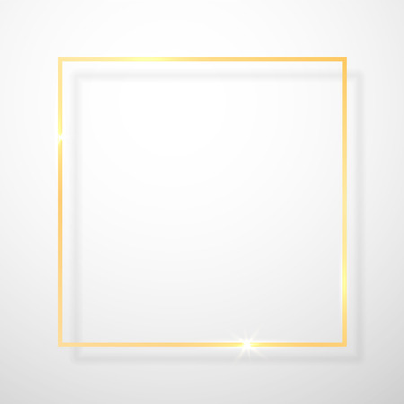 Gold shiny glowing vintage frame with shadows isolated on transparent background. Golden luxury realistic rectangle border. Vector illustration. Иллюстрация