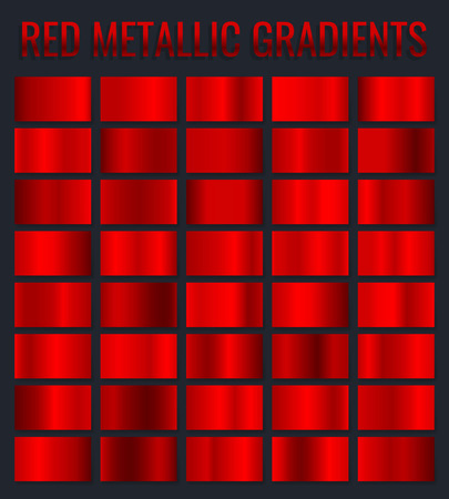 Collection red metallic gradients, chrome christmas gradient set. Vector illustration.